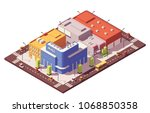 vector low poly isometric city... | Shutterstock .eps vector #1068850358