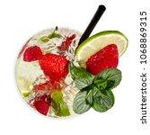 strawberry mojito cocktail  top ... | Shutterstock . vector #1068869315