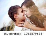 portrait of beautiful young... | Shutterstock . vector #1068879695