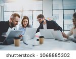 young business team working... | Shutterstock . vector #1068885302