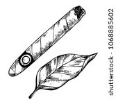 cigar and tobacco leaf... | Shutterstock . vector #1068885602