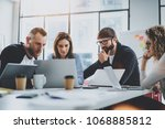 brainstorming process at office.... | Shutterstock . vector #1068885812