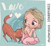 cute cartoon little girl with... | Shutterstock .eps vector #1068893822