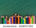 close up arrangement of pencil...   Shutterstock . vector #1068917282