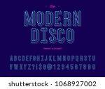 modern disco trendy alhabet 3d... | Shutterstock .eps vector #1068927002