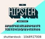 hipster modern typeface 3d... | Shutterstock .eps vector #1068927008