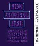 neon original font 3d modern...   Shutterstock .eps vector #1068927065