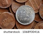 russian ruble coin and us cent... | Shutterstock . vector #1068930416