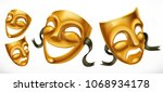 gold theatrical masks. comedy... | Shutterstock .eps vector #1068934178