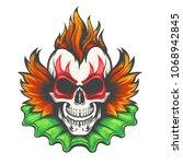 colorful evil clown skull...   Shutterstock .eps vector #1068942845