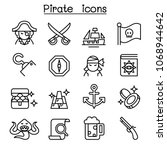 pirate icon set in thin line... | Shutterstock .eps vector #1068944642