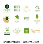 organic natural label and tag... | Shutterstock .eps vector #1068950225