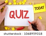 text sign showing quiz.... | Shutterstock . vector #1068959318