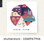 idillic summer landscape...   Shutterstock .eps vector #1068967946