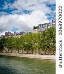 the riverside of seine in paris ... | Shutterstock . vector #1068970022