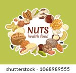 label with nuts and seeds.... | Shutterstock .eps vector #1068989555