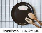 diet menu. top view of black... | Shutterstock . vector #1068994838