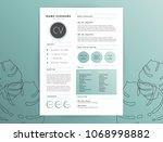 elegant cv   curriculum vitae... | Shutterstock .eps vector #1068998882