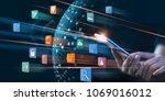 businessman using mobile... | Shutterstock . vector #1069016012