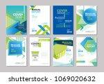 set of blue cover brochure ... | Shutterstock .eps vector #1069020632