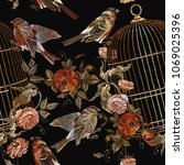 embroidery vintage birds and... | Shutterstock .eps vector #1069025396
