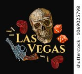 embroidery skulls  hearts  guns ... | Shutterstock .eps vector #1069025798
