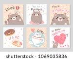 cute chubby cat happy love purr ... | Shutterstock .eps vector #1069035836