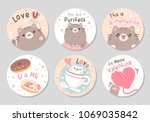 cute chubby cat with love purr  ... | Shutterstock .eps vector #1069035842