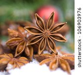Christmas time, star anise - stock photo