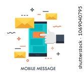 hand touching smartphone screen ... | Shutterstock .eps vector #1069040795