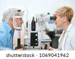 oculist cheking patient's...   Shutterstock . vector #1069041962