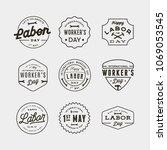 set of labor day badges.... | Shutterstock .eps vector #1069053545
