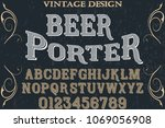 vintage font handcrafted vector ... | Shutterstock .eps vector #1069056908
