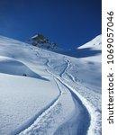 fresh tracks in powder snow off ...   Shutterstock . vector #1069057046