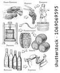 vector illustration of wine... | Shutterstock .eps vector #1069069595