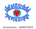 eye icon   vector. hands are... | Shutterstock .eps vector #1069073942