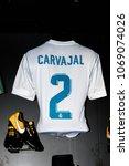 Small photo of MADRID - APRIL 14, 2018: Carvajal 2, Actual shirt of season 2017-2018, Museum of Real Madrid soccer team, Santiago Bernabeu Stadium