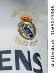 Small photo of MADRID - APRIL 14, 2018: Real Madrid retro shirt Siemens, Museum of the Santiago Bernabeu Stadium
