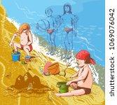 children on the beach  vector...   Shutterstock .eps vector #1069076042