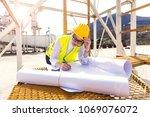female architect or engineer... | Shutterstock . vector #1069076072