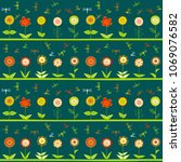 rows of flowers and stylized... | Shutterstock .eps vector #1069076582