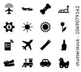 solid vector icon set   plane...