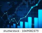 stock market or forex trading... | Shutterstock . vector #1069082375