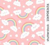 cloud background  rainbow... | Shutterstock .eps vector #1069083656