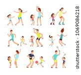 fitness family  parents and... | Shutterstock .eps vector #1069086218