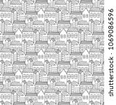 hand drawn pattern with city... | Shutterstock .eps vector #1069086596