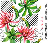 tropical plants pattern in a... | Shutterstock . vector #1069089782