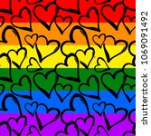 gay pride rainbow colored... | Shutterstock . vector #1069091492