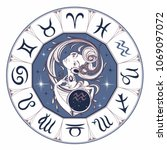 zodiac sign aquarius a... | Shutterstock .eps vector #1069097072