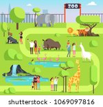 cartoon zoo with visitors and... | Shutterstock .eps vector #1069097816